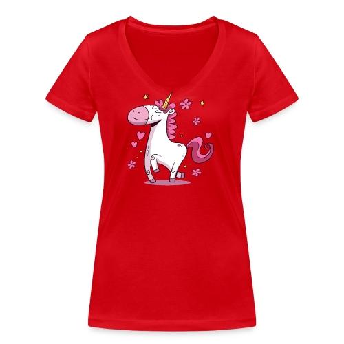 Koszulka jednorożec 4 - Ekologiczna koszulka damska z dekoltem w serek Stanley & Stella
