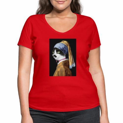 Micia Old Painting - T-shirt ecologica da donna con scollo a V di Stanley & Stella