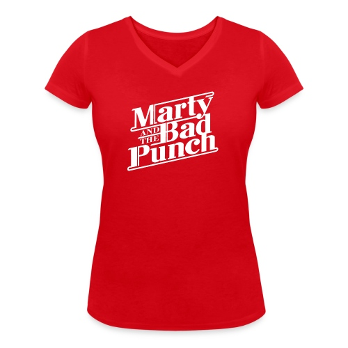 Marty And The Bad Punch - White Logo Shirt - Women's Organic V-Neck T-Shirt by Stanley & Stella