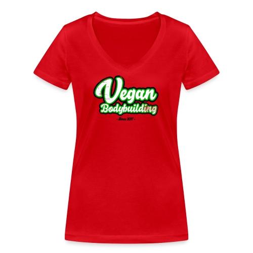 Vegan Bodybuilding -design - Stanley & Stellan naisten v-aukkoinen luomu-T-paita