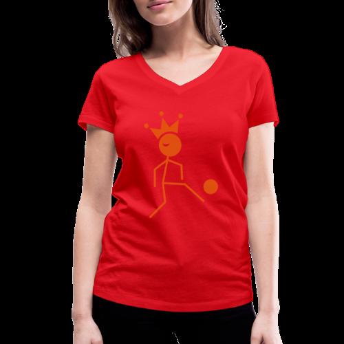 Voetbalkoning - Vrouwen bio T-shirt met V-hals van Stanley & Stella