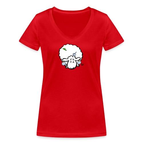 Ovejas del árbol de Navidad - Camiseta ecológica mujer con cuello de pico de Stanley & Stella