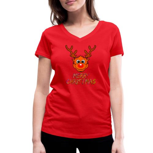 Rudolph - Frauen Bio-T-Shirt mit V-Ausschnitt von Stanley & Stella
