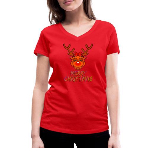 Rudolph weiblich - Frauen Bio-T-Shirt mit V-Ausschnitt von Stanley & Stella