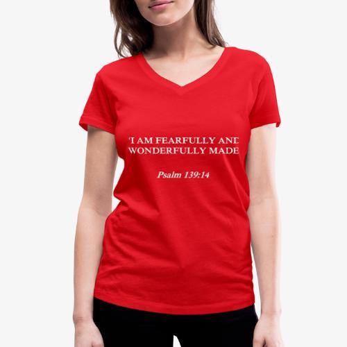 Psalm 139:14 white lettered - Vrouwen bio T-shirt met V-hals van Stanley & Stella