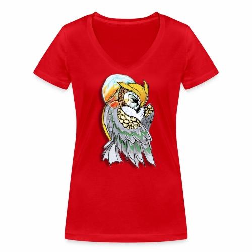 Cosmic owl - Camiseta ecológica mujer con cuello de pico de Stanley & Stella
