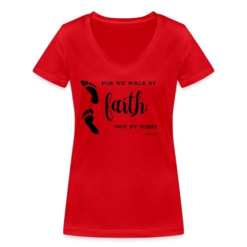 Faith not sight footprint - Frauen Bio-T-Shirt mit V-Ausschnitt von Stanley & Stella