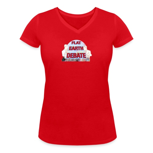 Flat Earth Debate Cartoon - Women's Organic V-Neck T-Shirt by Stanley & Stella