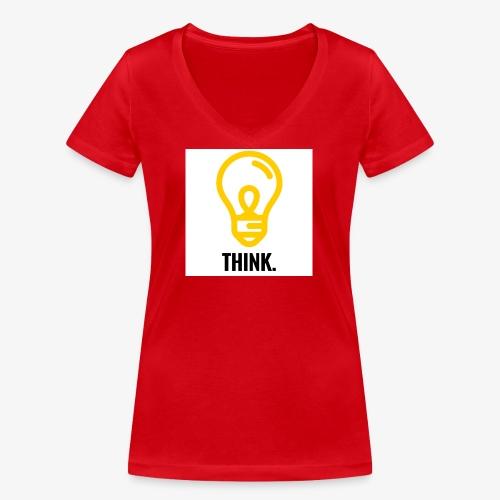THINK - T-shirt ecologica da donna con scollo a V di Stanley & Stella
