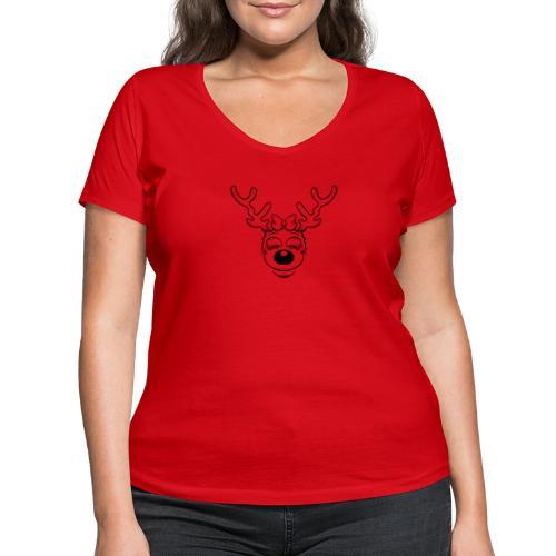 Fröhliche weibliches Rentier ohne Ohren - Frauen Bio-T-Shirt mit V-Ausschnitt von Stanley & Stella