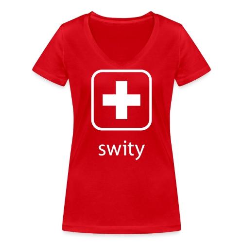 Schweizerkreuz-Kappe (swity) - Frauen Bio-T-Shirt mit V-Ausschnitt von Stanley & Stella