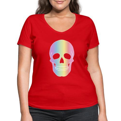 Rainbow Skull - Stanley & Stellan naisten v-aukkoinen luomu-T-paita