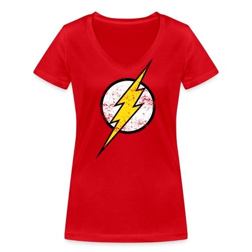 DC Comics Justice League Flash Logo - Frauen Bio-T-Shirt mit V-Ausschnitt von Stanley & Stella