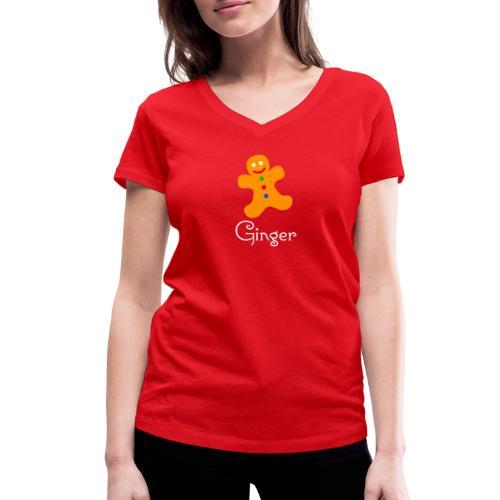 Gingerbread Man - Women's Organic V-Neck T-Shirt by Stanley & Stella