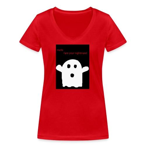 Cute Ghost - Stanley & Stellan naisten v-aukkoinen luomu-T-paita