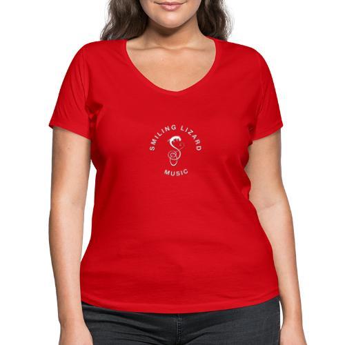 Smiling Lizard Music Logo weiß - Frauen Bio-T-Shirt mit V-Ausschnitt von Stanley & Stella