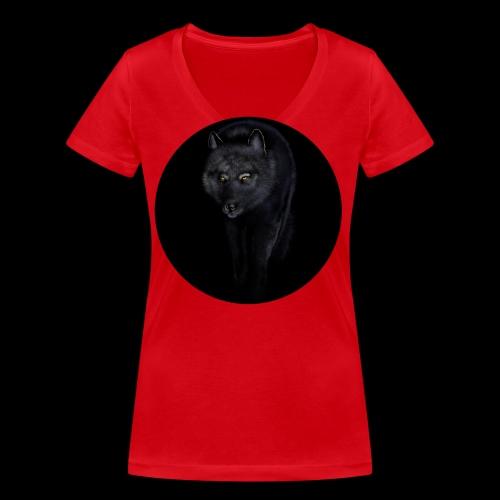 Black Wolf - Women's Organic V-Neck T-Shirt by Stanley & Stella