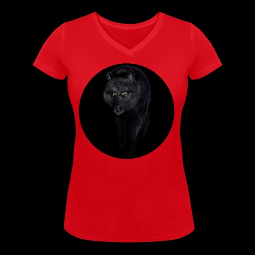 Black Wolf - Women's Organic V-Neck T-Shirt by Stanley & Stella