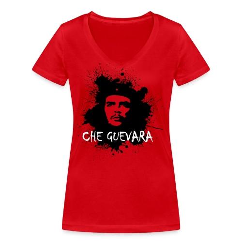 Che Guevara Splatter Männer Langarmshirt - Frauen Bio-T-Shirt mit V-Ausschnitt von Stanley & Stella