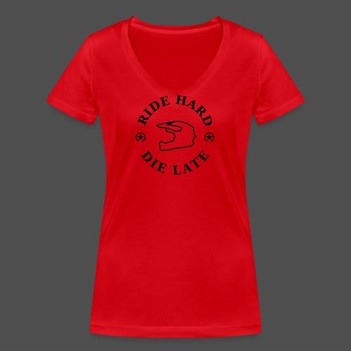 jeździć ciężko - późno - Ekologiczna koszulka damska z dekoltem w serek Stanley & Stella