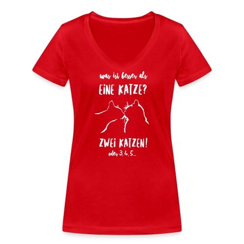 Vorschau: besser als eine Katze - Frauen Bio-T-Shirt mit V-Ausschnitt von Stanley & Stella