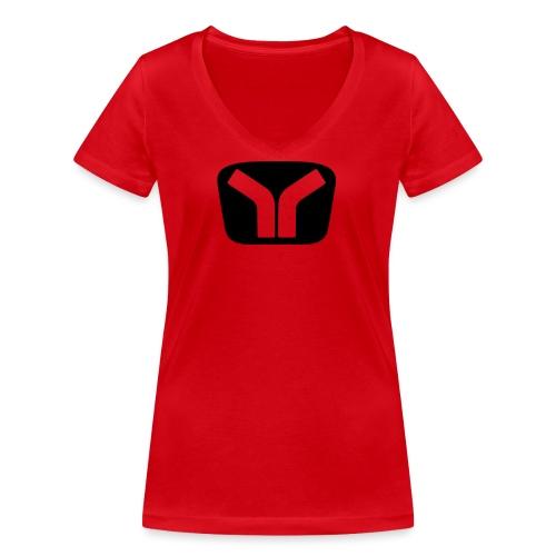 Yugo Logo Black-Transparent Design - Women's Organic V-Neck T-Shirt by Stanley & Stella