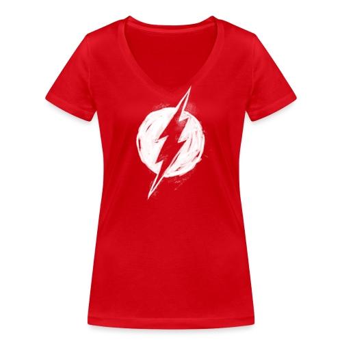Justice League Flash Logo white - Frauen Bio-T-Shirt mit V-Ausschnitt von Stanley & Stella