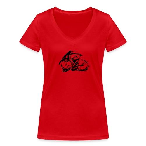 futuristischer radfahrer - Frauen Bio-T-Shirt mit V-Ausschnitt von Stanley & Stella