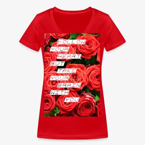Follow your heart - Økologisk Stanley & Stella T-shirt med V-udskæring til damer