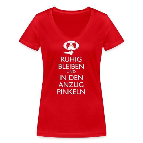 Ruhig bleiben und in den Anzug pinkeln - Frauen Bio-T-Shirt mit V-Ausschnitt von Stanley & Stella