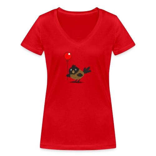 vogeltje met ballon - Vrouwen bio T-shirt met V-hals van Stanley & Stella