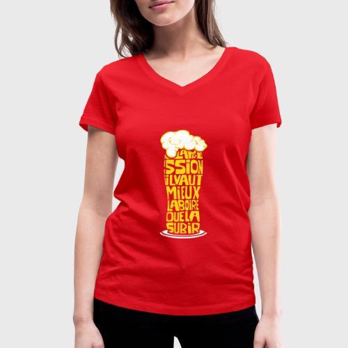 Bière ou Pression citation - T-shirt bio col V Stanley & Stella Femme