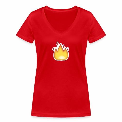 Liekkikuviollinen vaate - Stanley & Stellan naisten v-aukkoinen luomu-T-paita