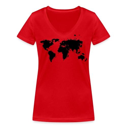 Weltkarte Splash - Frauen Bio-T-Shirt mit V-Ausschnitt von Stanley & Stella
