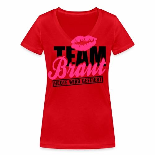 Team Braut - Frauen Bio-T-Shirt mit V-Ausschnitt von Stanley & Stella