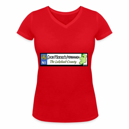 FERMANAGH, NORTHERN IRELAND licence plate tags eu - Women's Organic V-Neck T-Shirt by Stanley & Stella