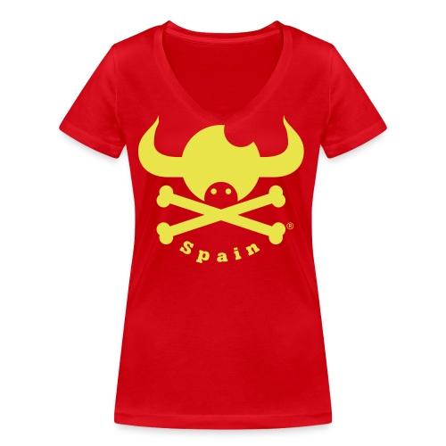 DISEÑO QUIJOTES BASICO AMARILLO SPAIN - Camiseta ecológica mujer con cuello de pico de Stanley & Stella