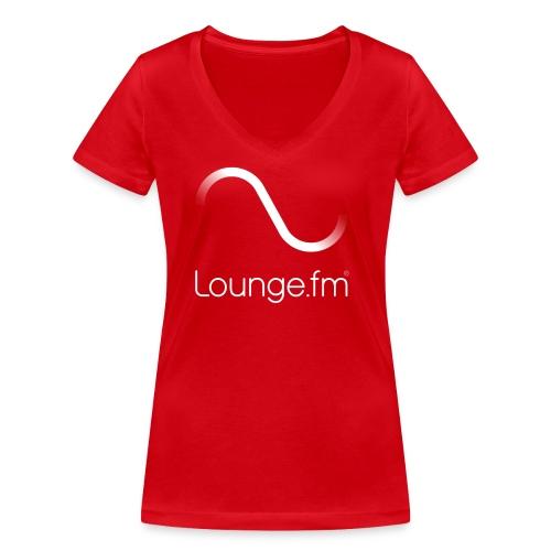 loungefm logo weiss - Frauen Bio-T-Shirt mit V-Ausschnitt von Stanley & Stella