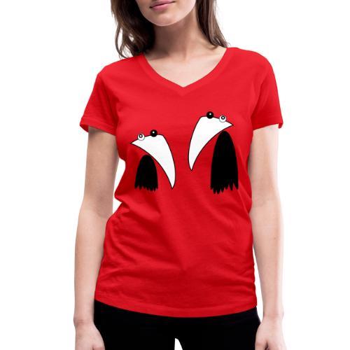 Raving Ravens - black and white 1 - Women's Organic V-Neck T-Shirt by Stanley & Stella