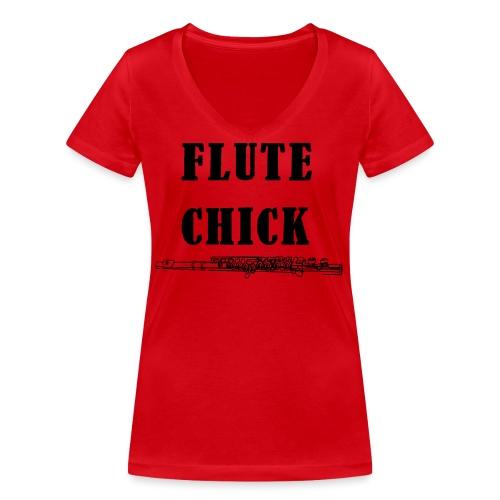 Flute Chick - Økologisk T-skjorte med V-hals for kvinner fra Stanley & Stella