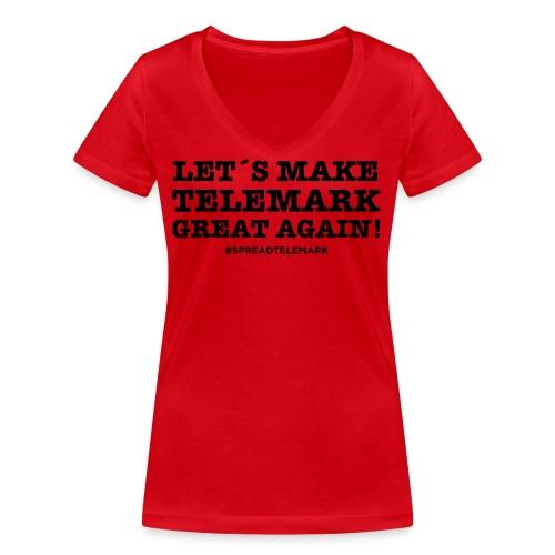 Let´s make telemark great again - Stanley & Stellan naisten v-aukkoinen luomu-T-paita