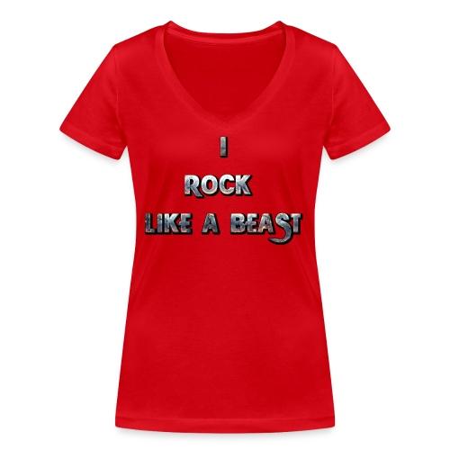 IROCKLIKEABEAST Big png - Ekologisk T-shirt med V-ringning dam från Stanley & Stella