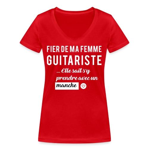 Tshirt Fier de ma femme guitariste - T-shirt bio col V Stanley & Stella Femme