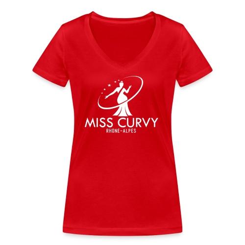 MISS CURVY Rhône Alpes blanc - T-shirt bio col V Stanley & Stella Femme