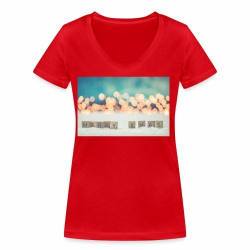 Merry Christmas - Økologisk Stanley & Stella T-shirt med V-udskæring til damer