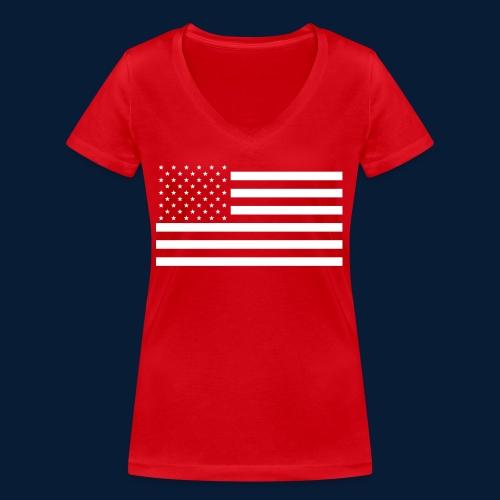 Stars and Stripes White - Frauen Bio-T-Shirt mit V-Ausschnitt von Stanley & Stella