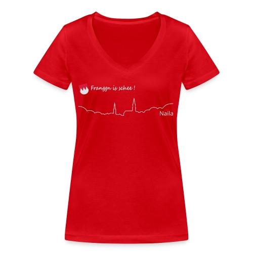 Franggn is schee:Naila weiß+rot - Frauen Bio-T-Shirt mit V-Ausschnitt von Stanley & Stella