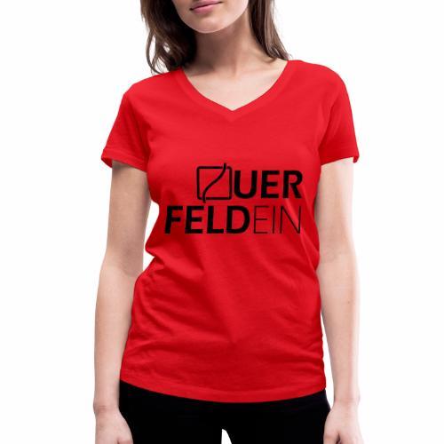 Querfeldein Logo - Frauen Bio-T-Shirt mit V-Ausschnitt von Stanley & Stella