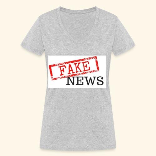 fake news - Women's Organic V-Neck T-Shirt by Stanley & Stella