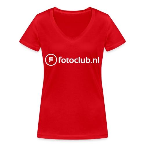 Logo Wit Fotoclublnl - Vrouwen bio T-shirt met V-hals van Stanley & Stella